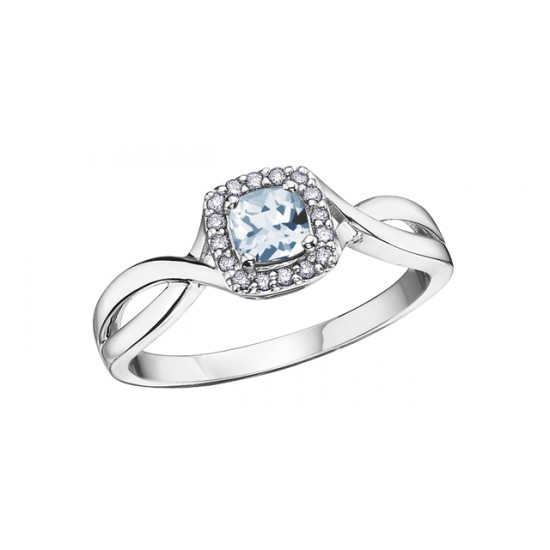 Bague à diamants et aigue-marine