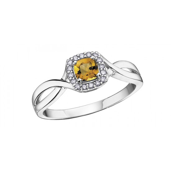 Bague à diamants et citrine