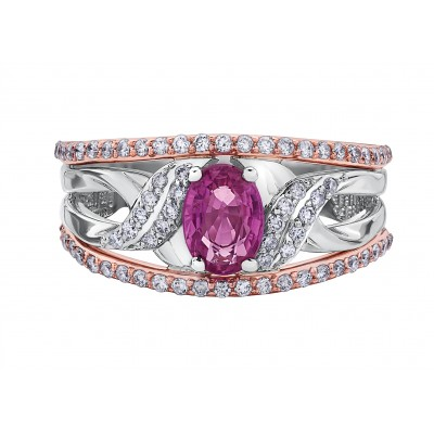 Bague à diamants et saphir rose