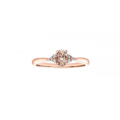 Bague à diamants et morganite