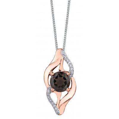 Pendentif à diamants et quartz fumé